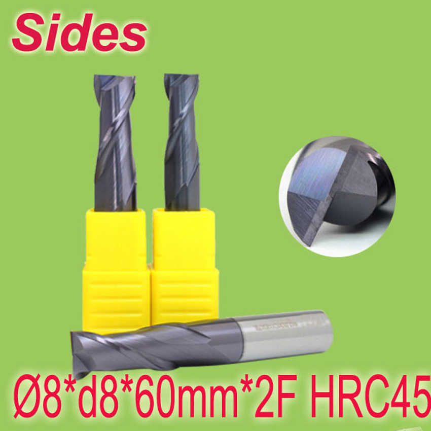 8*d8*60mm*2F HRC45  Tungsten Carbide Square End Mill 2F Flat Spiral Flute Endmill Cutter  Free Shipping<br><br>Aliexpress