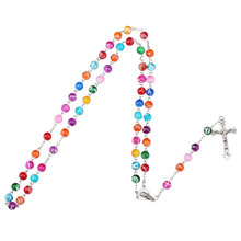NingXiang Trendy Acrylic Beads Catholic Rosary Cross Pendant Necklace Statement Colorful Beads Religious Maxi Necklace For Women(China)