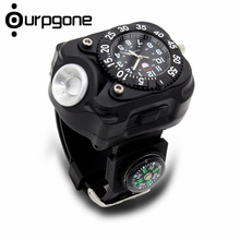 Ourpgone Brand 1* Hiking Outdoor Tools Lamp Military Tactical LED Sport Wrist Watch Flashlight Compass Light Free shipping!(China)