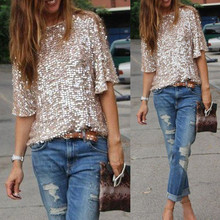 New Women Sequined Shirts Sexy Women Bling Shiny  Top  Loose Shirt Off  Shoulder Evening Club Wear