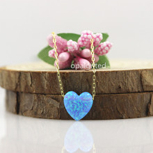 Free shipping Fire dream light blue op06 opal heart shape pendant necklace for girl with fancy gold O chain with wholesale price
