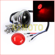 Chrome 12V LED Motorcycle Vintage Custom Bates Style Led Brake Light Parking Tail Light Cafe Racer Scrambler(China)