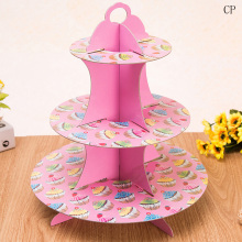 1pcs 3 Tier Crown Cupcake Display Stand Wedding Birthday Party Foldable Paper Dessert Cake Stand Cake Tools