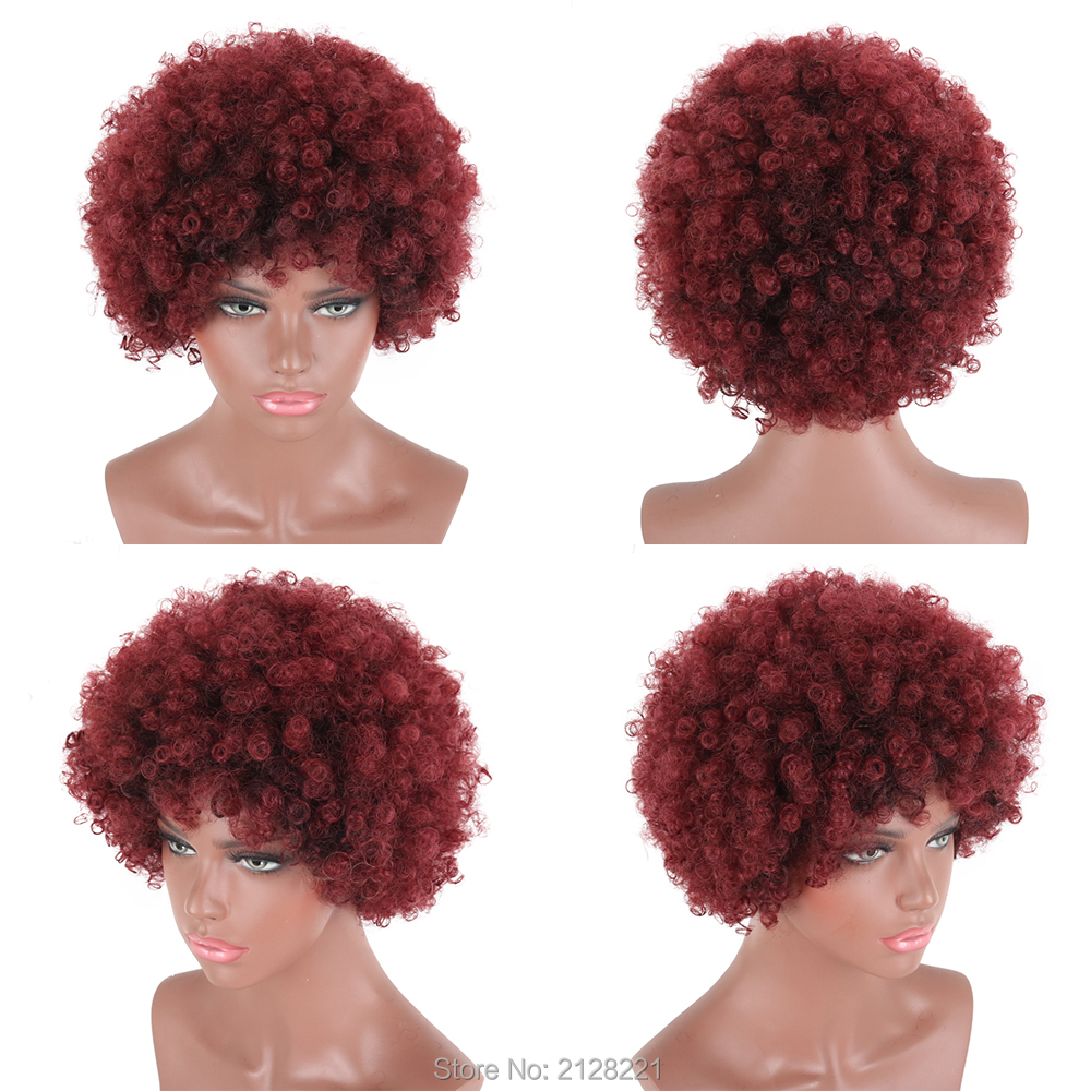 Deyngs Short Black Afro Kinky Curly Synthetic Wigs for Men and Women Fluffy Heat Resistant Synthetic Cosplay Anime Costume Wigs (2)