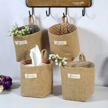 Linen Woven Storage Basket Polka Dot Small Storage Sack Cloth Hanging Non Woven Storage Basket Buckets Bags Kids Toy Box