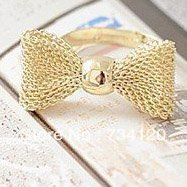 R027 New Fashion gold color Exquisite Noble Cute Bow ring,fashion ring,adjustable Free shipping(China)