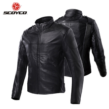 Scoyco Motorcycle Jacket Moto Leather Jacket Waterproof Outdoor Sports Motorbike Riding Long Jacket Protective With Protector(China)