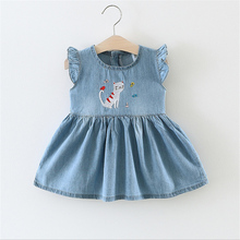 BibiCola Summer Baby Girls Dress Casual Style High Quality Baby Denim Dress Fashion Baby Infant Party Dress for Toddler Girls