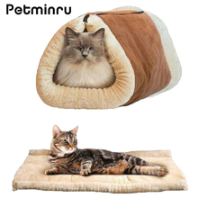 Petminru Warm Dog House Cat sleeping bag Pet Cat Tunnel Soft Pet House Sofas Nest Small Pet bed Bag(China)