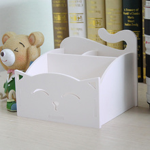 Lovely cat plastic waterproof storage box desk mobile phone remote control comstic storage rack finishing cabinet essential