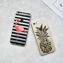 Fashion flamingo stripes mandala pineapple soft Case For iphone 6 6s Plus 7 7 Plus 5s SE Cover Capa Coque Funda Cases New
