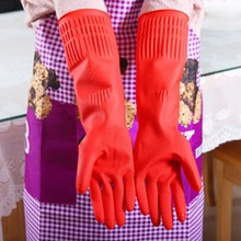 5576 Winter Warm Kitchen Wash Dishes Cleaning Waterproof Long Sleeve Rubber Latex Gloves Tool Hot(China)
