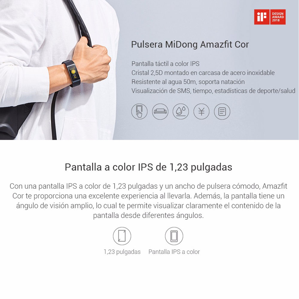 Original Huami Amazfit Cor Smart Bracelet MiDong band English Version Waterproof IPS 316L Stainless Steel Frame For Android IOS-1
