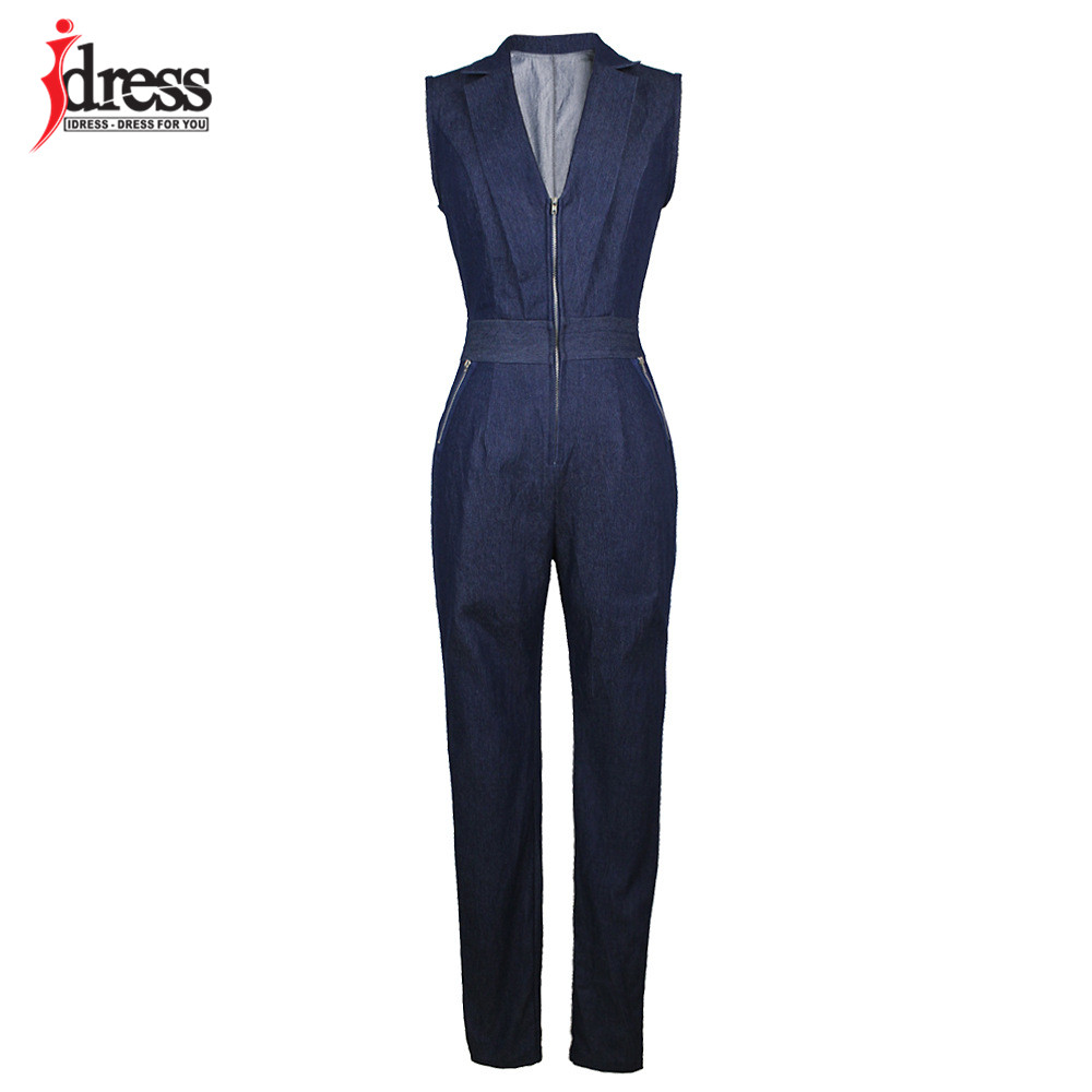 IDress Women Jeans Jumpsuit Denim Long Pants Sexy Deep V Neck Slim Overalls Jumpsuit Girl Sleeveless Club Wear Bodysuit Romper (8)