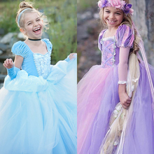 Girls Princess Dresses Kids Belle Cosplay Costume Children Rapunzel Aurora Cinderella Sleeping Beauty Christmas Halloween Gown