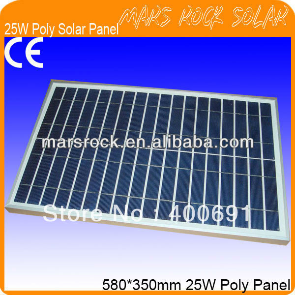 25W 18V Poly Solar Panel with High Performance Output, Double, Nice Appearance, Long Lifecycle, 80% Power warranty within 25year<br>