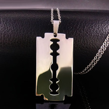Cool Stainless Steel Razor Blades Pendant Necklaces Men Jewelry Steel Male Shaver Shape Necklaces & Pendants Free Chain N3210