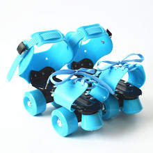 New Children Two Line Roller Skates Double Row 4 Wheel Skating Shoes Free Size Sliding Inline Adjustable Gifts For Kids IB01(China)