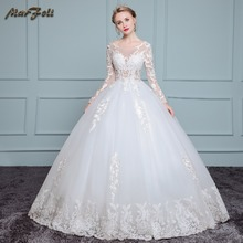 Marfoli Luxury High-end sleeved Wedding Dresses 2017 With lace Beads A-Line Custom Size Bridal Gown Vestidos De Noiva WD0031(China)