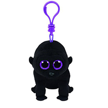 Pyoopeo Ty Beanie Boos 10cm George the Black Gorilla Plush Clip Keychain Stuffed Animal Collectible Big Eyes Owl Doll Toy