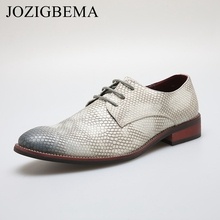 JOZIGBEMA New Snake Style Patent Leather Shoes Men Flats Pointed Toe Men Oxfords Shoes Casual Men Dress Shoes Wedding shoe(China)