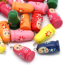 20PCs Wood Charm Pendants Russian Doll Pattern Painting Mixed 3.5cmx1.6cm For DIY Jewelry Making
