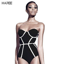 Sexy Black Curve Push up swimsuit one piece Sexy Bathing suit 2016 Monokini Bikinis one piece Swimming suit for Women Swimwear(China)