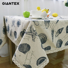 GIANTEX Shell Pattern Decorative Table Cloth Cotton Linen Lace Tablecloth Dining Table Cover For Kitchen Home Decor U1006
