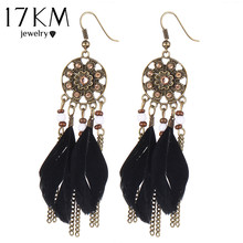 17KM Bohemia Vintage Women Dream Catcher Long Feather Drop Earrings Tassel Bead Tibetan Earrings Pendiente Women Earrings Gift(China (Mainland))