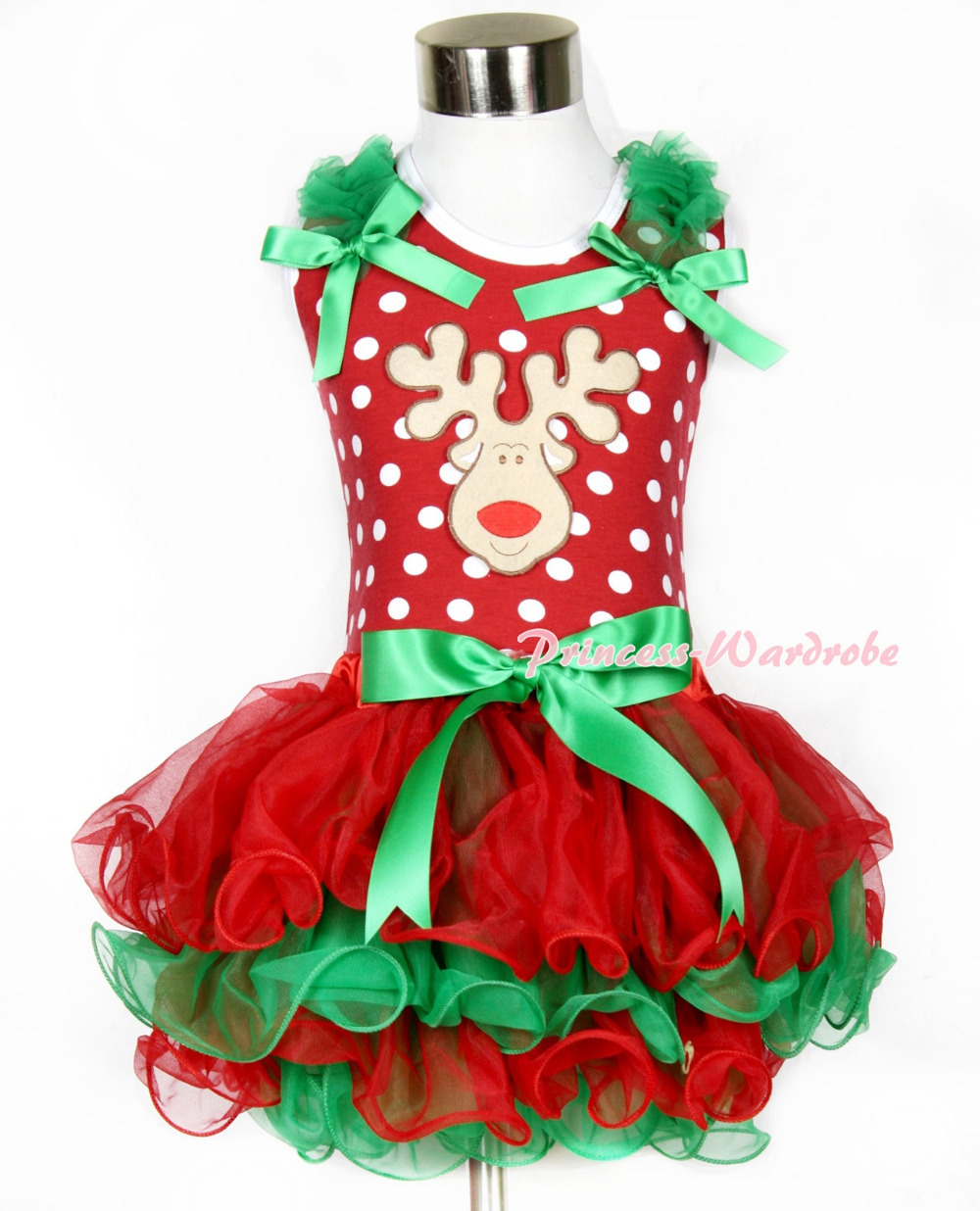 Xmas Minnie Dots Tank Top With Kelly Green Ruffles Kelly Green Bow Christmas Reindeer Bow Red Green Petal Pettiskirt MAMH092<br>