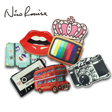 2017 Creative Cute Cartoon Coin Purse Key Chain Girl Leather Bus Camera Smile Crown TV Lipstick Zipper Change Wallet Card Holder(China)