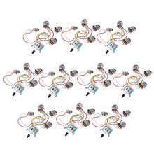 Electric Guitar Wiring Harness Prewired Kit 5 Way Toggle Switch 250K 2T1V Pots for Strat Parts Set of 10(China)