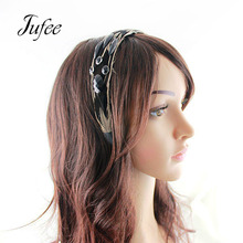 Jufee Gothic Style Fashion Jewelry Black Color Hairbands With Feather Geometric Stone Headbands For Women Hair Jewelry(China)