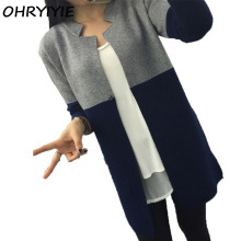 OHRYIYIE Autumn Winter Cardigan Fashion Hit Color Slim Long Women's Brand Casual Warm Sweater 2017 Female Outerwear Coat Lady(China)