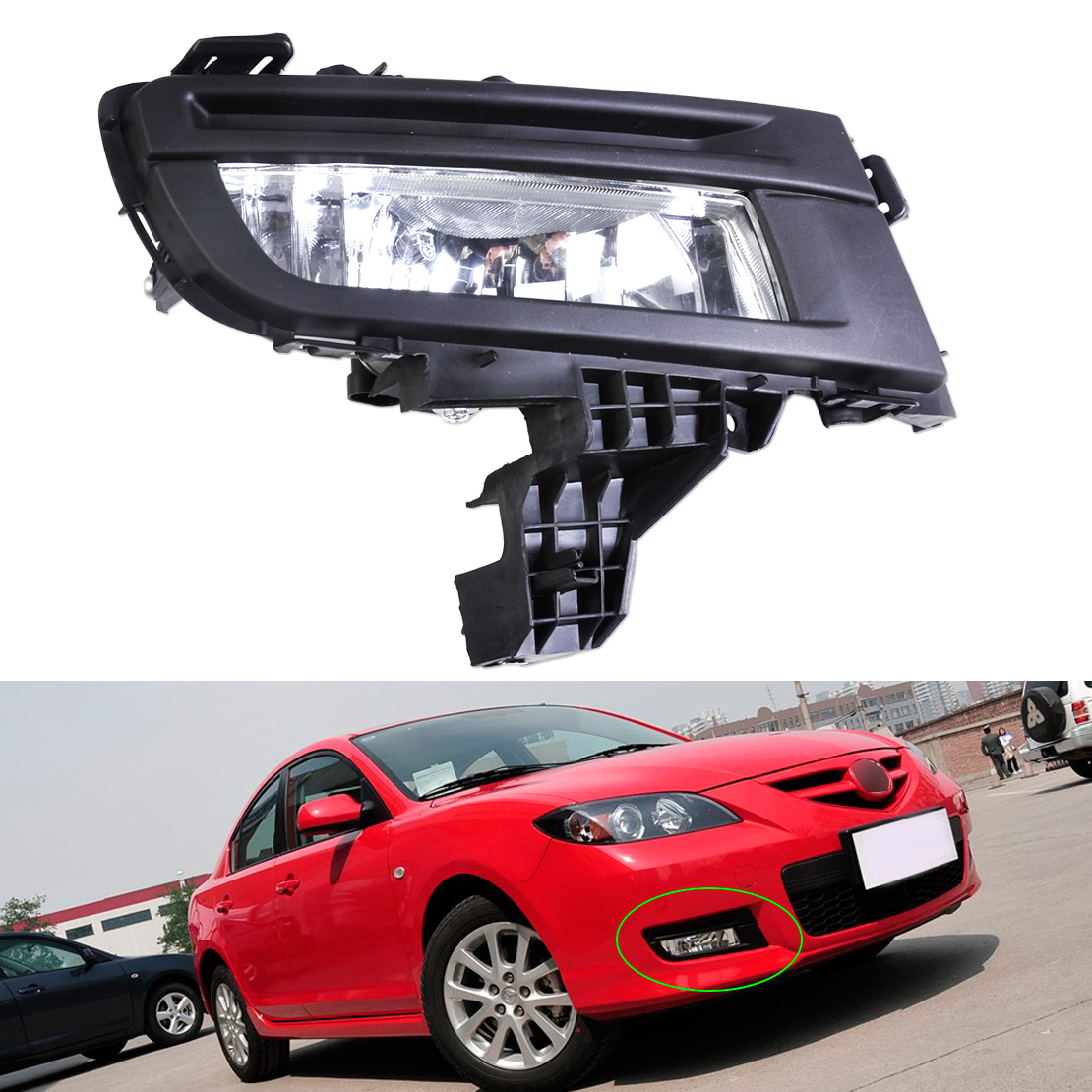 beler 1Pc high quality ABS plastic New Front Right Fog Light Lamp 9006 12V 51W for Mazda 3 2007 2008 2009 Replacement MA2592113<br>