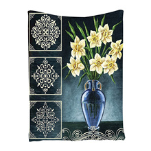 Daffodils Ceramic Pot Picture Art Ornaments Digital Printed Tapestry Natural Floral House Decorations for Wall Hanging Living(China)