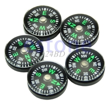 20mm Button Shape Small Mini Survival Compasses For Outdoor Hiking Camping 5PCS/SET S27(China)