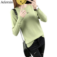 2017 Winter Women Sweaters and Pullovers Casual O-neck Long Sleeve Candy Color Lady Christmas Sweater Girl Pullover Soft Jumper