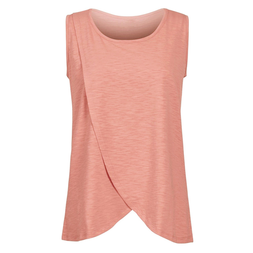 Maternity Clothes Pregnancy Clothes Summer Women Maternity Pregnants Sleeveless Double Layer T-Shirt Top Nursing Top JE10#F (3)
