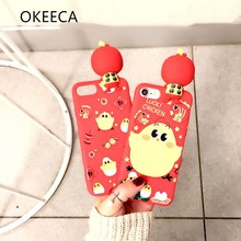 OKEECA Soft Silicon Cute Phone Case for iPhone 6 6s 6plus 6splus 7 7plus Luck Chicken with a Doll 2017 New Design 3D Phone Case