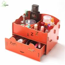 YIHONG Office Desktop Wood Double Drawer Pencil Wooden Jewelry Stationery Cosmetic Storage Box Desktop Zakka Organize