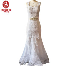 Vestidos De Novia 2017 Vintage Wedding Dresses Mermaid Beaded Sash Appliques Lace China Wedding Gown Bride Dresses Bridal Gowns
