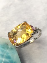Natural citrine and amethyst silver ring,  10mm*14mm bright color and full fire, more beautiful than pictures