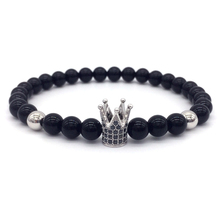 NAIQUBE 2017 New Brand Trendy Imperial Crown Charm Bracelets Men Natural Stone Beads For Women Men Jewelry pulsera hombres