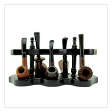 Smoker 5 Seat Black Tobacco Pipe Holder Rosewood Smoking Pipe Stander Pipe Rack Best Gift for men YDJ18