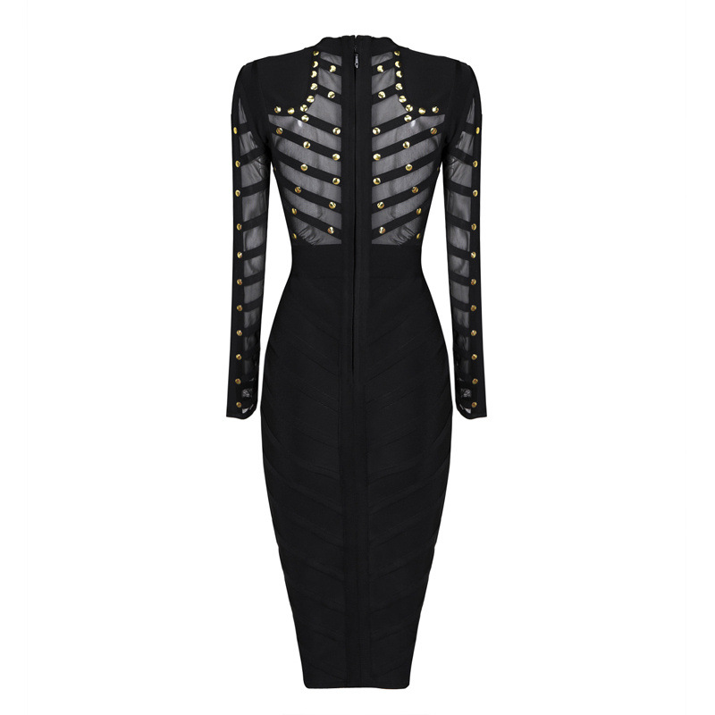 New Bandage Dress 2018 Women Sexy Evening Party Bodycon Dress Mesh Knee-Length Upgraded Studs Long Sleeve Club Celebrity Dress (13)