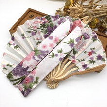 Free Shipping 100pcs/lot Personalized /Customized Bamboo 100% Polyester Flower Blossoms Wedding Chinese Japanese Folding Fan