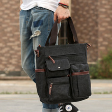 2017 Men Canvas Leather Briefcase Business Laptop Cross Body Messenger Shoulder Handbag Tote Travel Casual Bag Pack(China)
