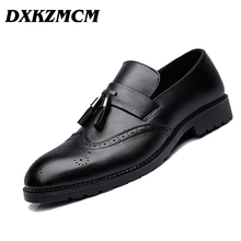 DXKZMCM 2018 Men Formal Shoes Men's Business Dress Brogue Shoes For Wedding Party Microfiber Leather Oxford Shoes(China)