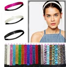 "2017 New 10pcs Fashion 3/4"" Glitter Headbands Elastic Stretch Sparkly Softball Headbands For Teenagers"